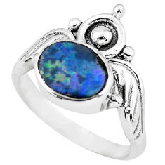 Crown natural doublet opal australian 925 silver solitaire ring size 6.5 p57813