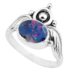 Crown natural doublet opal australian 925 silver solitaire ring size 7 p57814