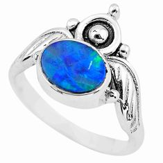 Crown natural doublet opal australian 925 silver solitaire ring size 8 p57819
