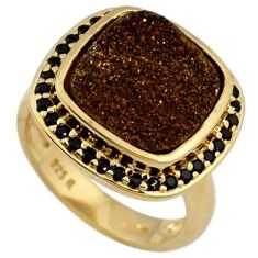CUSHION GOLDEN DRUZY TOPAZ 925 STERLING SILVER 14K GOLD RING SIZE 6 H13125