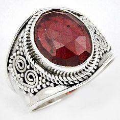 DAZZLING 925 STERLING SILVER NATURAL RED RHODOLITE RING JEWELRY SIZE 7 H43573