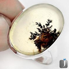 DAZZLING NATURAL SCENIC RUSSIAN DENDRITIC AGATE 925 SILVER RING SIZE 9 G28861
