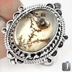 DAZZLING NATURAL SCENIC RUSSIAN DENDRITIC AGATE 925 SILVER RING SIZE 8 G28863