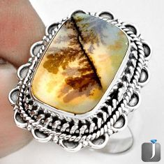 DAZZLING NATURAL SCENIC RUSSIAN DENDRITIC AGATE 925 SILVER RING SIZE 8 G28868
