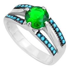 2.97cts emerald (lab) sleeping beauty turquoise 925 silver ring size 7.5 c1494