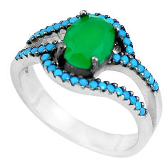 3.32cts emerald (lab) sleeping beauty turquoise 925 silver ring size 6.5 c1550