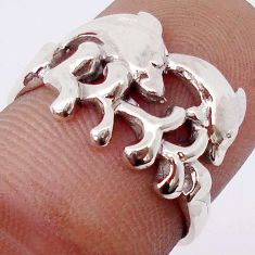 3.27gms EXCELLENT 925 STERLING SILVER TWO DOLPHIN RING JEWELRY SIZE 8 H9506