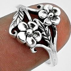 3.21gms EXOTIC FLOWER WITH LEAF 925 STERLING SILVER RING JEWELRY SIZE 7 H9514