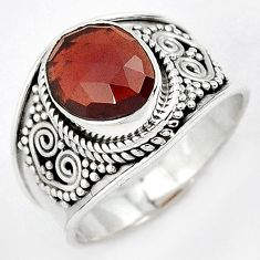 FABULOUS NATURAL RED RHODOLITE GEMSTONE 925 STERLING SILVER RING SIZE 7.5 H43567