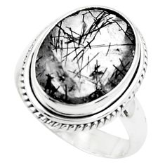 9.72cts faceted black tourmaline rutile 925 silver solitaire ring size 8 p76482
