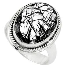 10.04cts faceted black tourmaline rutile 925 silver solitaire ring size 7 p76492