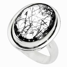 9.72cts faceted black tourmaline rutile 925 silver solitaire ring size 8 p76493