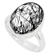10.01cts faceted black tourmaline rutile silver solitaire ring size 8.5 p76476