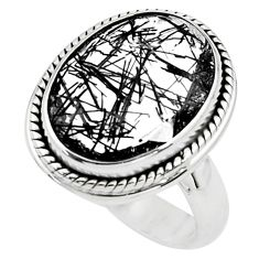 10.04cts faceted black tourmaline rutile silver solitaire ring size 7.5 p76485