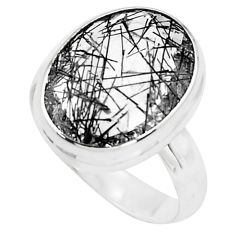 10.24cts faceted black tourmaline rutile silver solitaire ring size 7.5 p76491