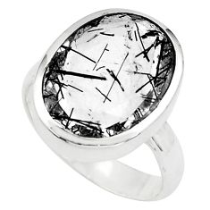 10.23cts faceted black tourmaline rutile silver solitaire ring size 7.5 p76498