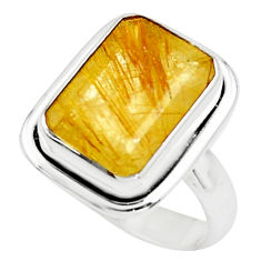 8.27cts faceted golden rutile 925 silver solitaire ring jewelry size 8.5 p76521