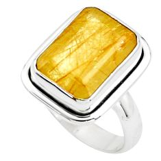 8.71cts faceted golden rutile 925 silver solitaire ring jewelry size 8.5 p76526