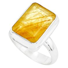7.02cts faceted golden rutile 925 silver solitaire ring jewelry size 8 p76527