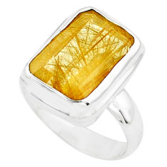 7.13cts faceted golden rutile 925 silver solitaire ring jewelry size 6.5 p76529
