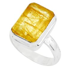 7.36cts faceted golden rutile 925 silver solitaire ring jewelry size 8 p76530