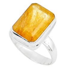 7.02cts faceted golden rutile 925 silver solitaire ring jewelry size 8.5 p76534