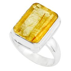 7.13cts faceted golden rutile 925 silver solitaire ring jewelry size 7 p76537