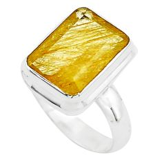 6.89cts faceted golden rutile 925 silver solitaire ring jewelry size 7.5 p76538