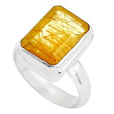 7.02cts faceted golden rutile 925 silver solitaire ring jewelry size 8 p76539