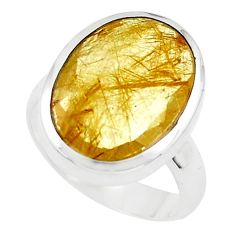 10.24cts faceted golden rutile 925 silver solitaire ring jewelry size 6.5 p76552