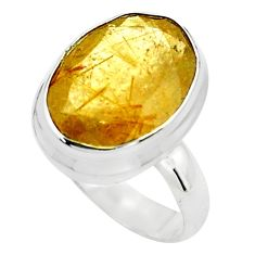 10.70cts faceted golden rutile 925 silver solitaire ring jewelry size 7.5 p76556