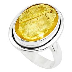 10.02cts faceted golden rutile 925 silver solitaire ring jewelry size 7 p76558