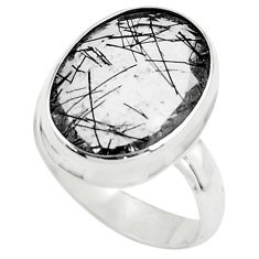 Faceted natural black tourmaline rutile 925 silver solitaire ring size 7 p76462