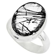 Faceted natural black tourmaline rutile silver solitaire ring size 7.5 p76461