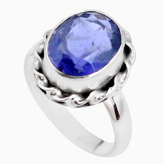 4.92cts faceted natural blue iolite 925 silver solitaire ring size 7.5 p41775