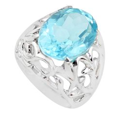 10.88cts faceted natural blue topaz 925 silver solitaire ring size 7.5 p41702