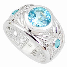 3.51cts faceted natural blue topaz 925 silver solitaire ring size 6.5 p41801