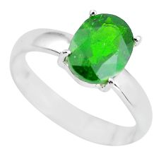 3.03cts faceted natural chrome diopside 925 silver solitaire ring size 7 p63782