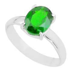 3.05cts faceted natural chrome diopside silver solitaire ring size 7.5 p63807