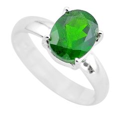 3.83cts faceted natural green chrome diopside 925 silver ring size 7 p54179