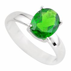 Faceted natural green chrome diopside 925 silver solitaire ring size 7 p54196