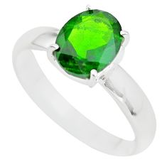 Faceted natural green chrome diopside 925 silver solitaire ring size 8 p63762