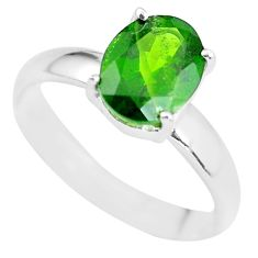 Faceted natural green chrome diopside 925 silver solitaire ring size 7 p63771