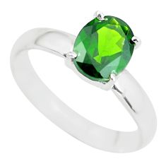 Faceted natural green chrome diopside 925 silver solitaire ring size 9.5 p63773