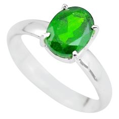 Faceted natural green chrome diopside 925 silver solitaire ring size 8 p63777