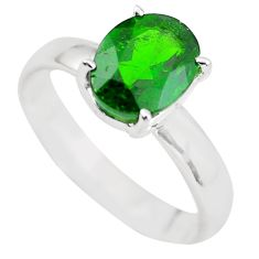 Faceted natural green chrome diopside 925 silver solitaire ring size 7 p63778