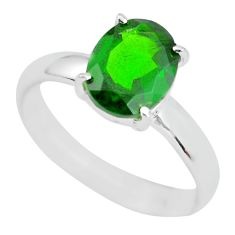 Faceted natural green chrome diopside 925 silver solitaire ring size 7 p63785
