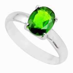 Faceted natural green chrome diopside 925 silver solitaire ring size 9.5 p63786