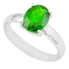 Faceted natural green chrome diopside 925 silver solitaire ring size 8 p63787