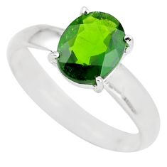 Faceted natural green chrome diopside 925 silver solitaire ring size 8 p63794